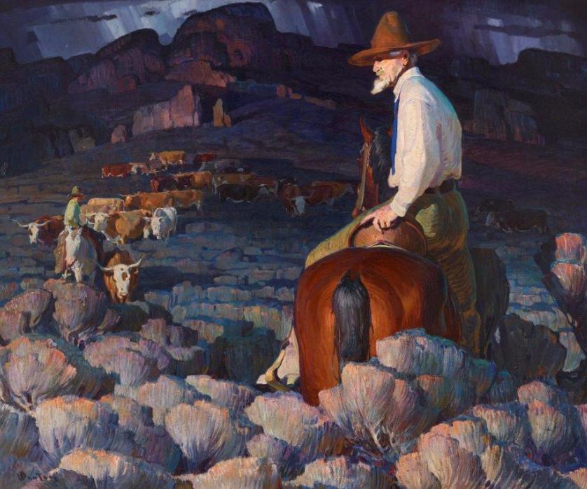 William Herbert Dunton (American, 1878–1936) The Cattle Buyer, 1921 Oil on canvas, 50 x 60 in. Stark Museum of Art, Orange, Texas, 31.21.402