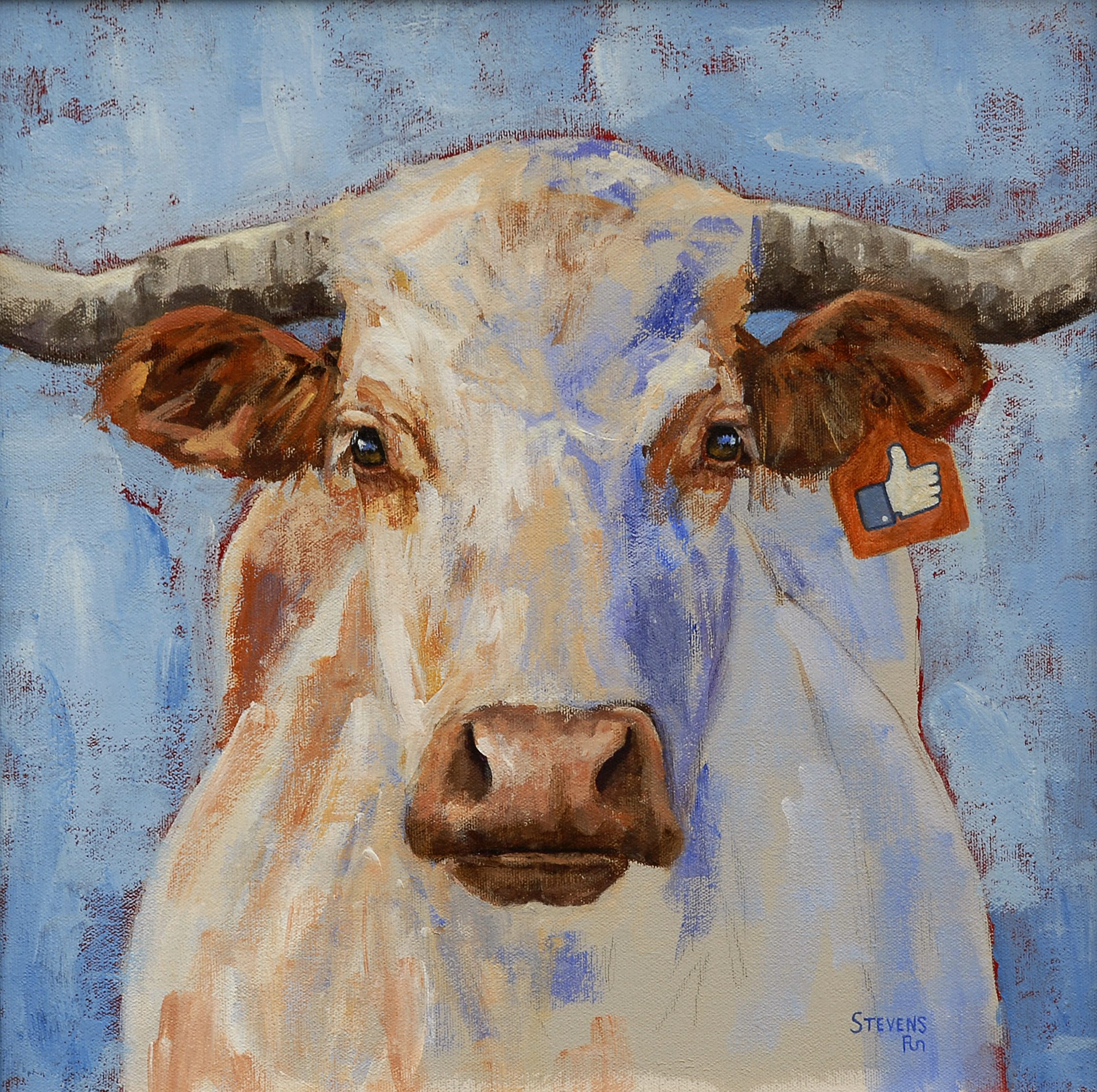 White Cow in August by Sandra Stevens. Acrylic, 16″ x 16″