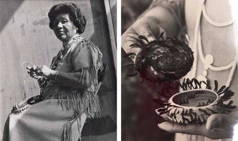 Left: Mabel McKay demonstrating basketweaving, photograph courtesy of Sharon Rogers and Marshall McKay Right: Two of Mabel McKay's baskets, photograph courtesy of Sharon Rogers and Marshall McKay